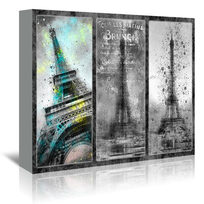 Americanflat 'City-Art Paris Eiffel Tower Collage' by Melanie Viola Graphic Art Wrapped on Canvas