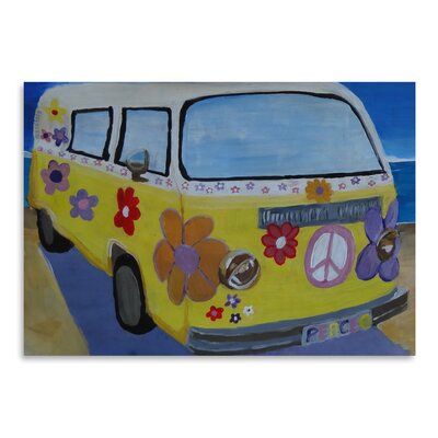 Americanflat 'The VW Volkswagen Bully Series - The Lady Flower Power Surf Bus' by Markus Bleichner Art Print
