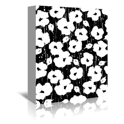 Americanflat 'Textured Petals Floral Black' by Chris Purcell Graphic Art Wrapped on Canvas