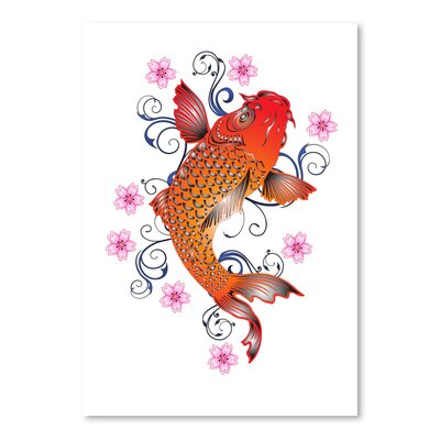 Americanflat Wonderful Dream Orange Koi with Floral Design Graphic Art