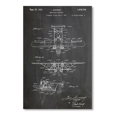 Americanflat 'Amphibian Aircraft' by House of Borders Graphic Art Wrapped on Canvas