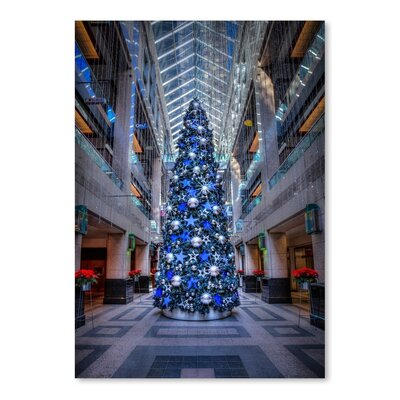 Americanflat Blue Christmas Tree Photographic Print Wrapped on Canvas