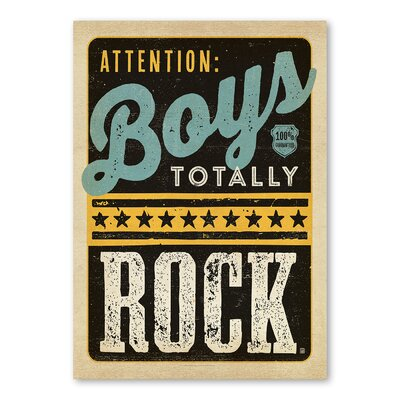 Americanflat Boys Rock Typography on Wrapped Canvas