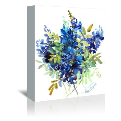 Americanflat 'Blue Flowers' by Suren Nersisyan Painting Print on Wrapped Canvas