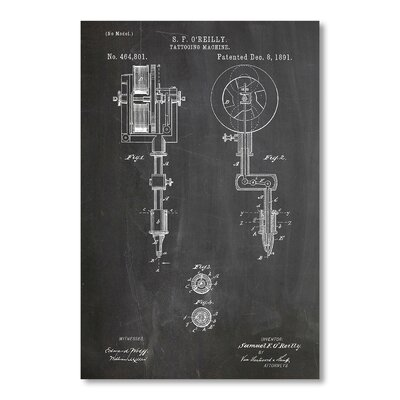 Americanflat 'Tattooing Machine' by House of Borders Graphic Art on Wrapped Canvas