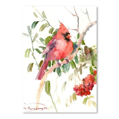 Americanflat 'Northern Cardinal and Berries' by Suren Nersisyan Painting Print on Wrapped Canvas