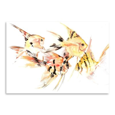 Americanflat Angelfish_Yellow_Black Painting Print on Wrapped Canvas