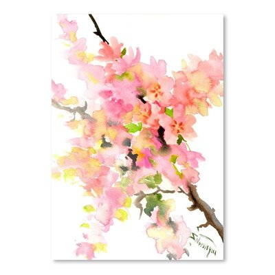 Americanflat 'Cherry Blossom Sakura' by Suren Nersisyan Painting Print on Wrapped Canvas