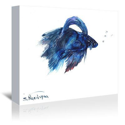 Americanflat Betta Fish Painting Print on Wrapped Canvas