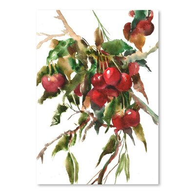 Americanflat Cherries Painting Print on Wrapped Canvas