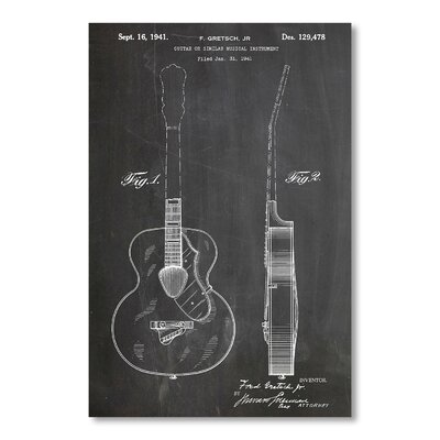 Americanflat 'Guitar Gretsch' by House of Borders Graphic Art on Wrapped Canvas