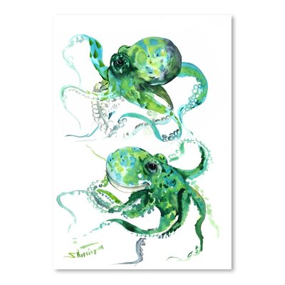 Americanflat 'Green Octopuse' by Suren Nersisyan Painting Print on Wrapped Canvas