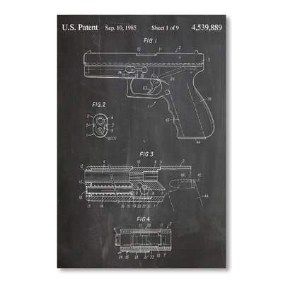 Americanflat 'Glock Pistol' by House of Borders Graphic Art on Wrapped Canvas