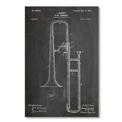 Americanflat 'Slide Trombone' by House of Borders Graphic Art Wrapped on Canvas
