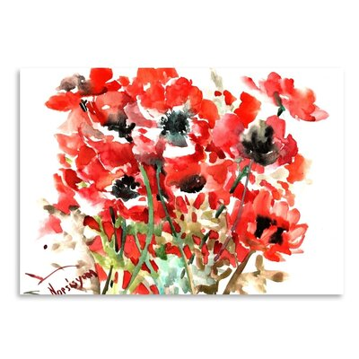 Americanflat 'Anemones Red' by Suren Nersisyan Painting Print on Wrapped Canvas
