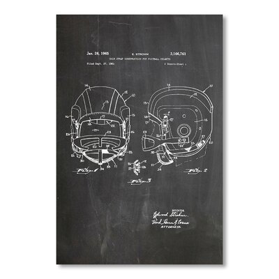 Americanflat 'Football Helmet Faceguard' by House of Borders Graphic Art on Wrapped Canvas