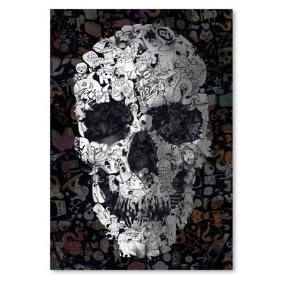 Americanflat Doodle Skull Collage Graphic Art Wrapped on Canvas