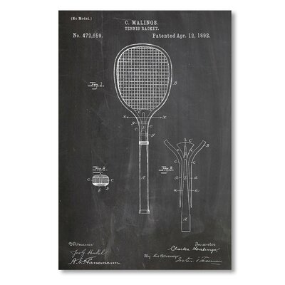Americanflat 'Tennis Racket' by House of Borders Graphic Art Wrapped on Canvas