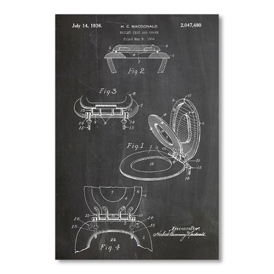 Americanflat 'Toilet Seat and Cover' by House of Borders Graphic Art Wrapped on Canvas