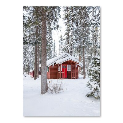 Americanflat Snow Forest Red House Photographic Print on Wrapped Canvas