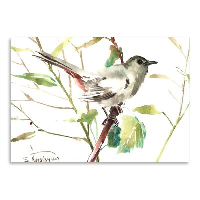 Americanflat 'Gray Catbird 2' by Suren Nersisyan Painting Print on Wrapped Canvas