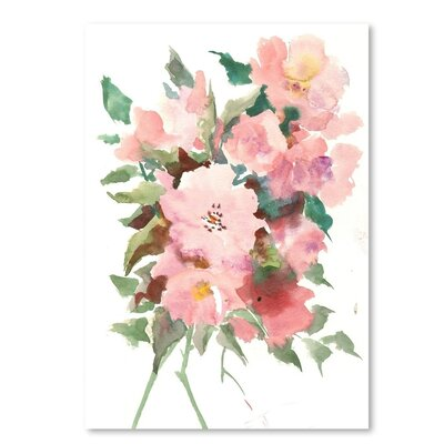 Americanflat Wild Roses Painting Print on Wrapped Canvas