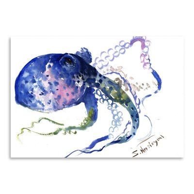 Americanflat 'Blue Octopus' by Suren Nersisyan Painting Print on Wrapped Canvas
