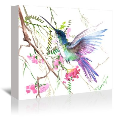 Americanflat 'Hummingbird Floral' by Suren Nersisyan Painting Print on Wrapped Canvas