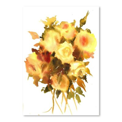 Americanflat Yellow Roses Art Print Wrapped on Canvas