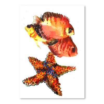 Americanflat Starfish Coral Painting Print on Wrapped Canvas