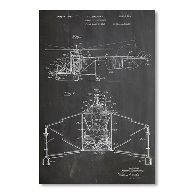 Americanflat 'Sikorsky Helicopter' by House of Borders Graphic Art on Wrapped Canvas