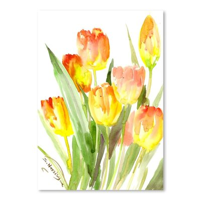 Americanflat 'Flame Tulips' by Suren Nersisyan Painting Print on Wrapped Canvas