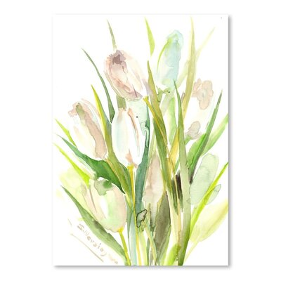 Americanflat White Tulips' by Suren Nersisyan Art Print Wrapped on Canvas