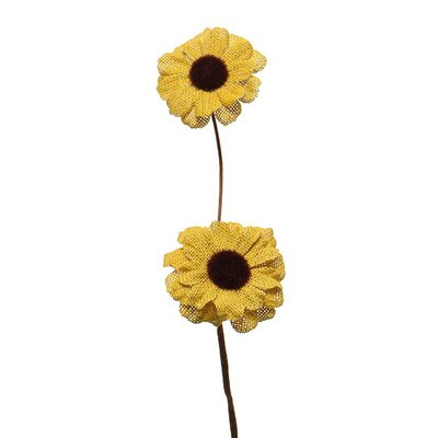 Decorative Burlap Daisies (Set of 3) Color: Yellow/Mustard