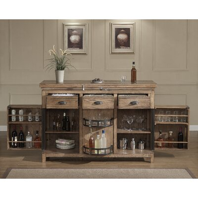 Evolution Bar Cabinet with Wine Storage Color: Weathered Oak