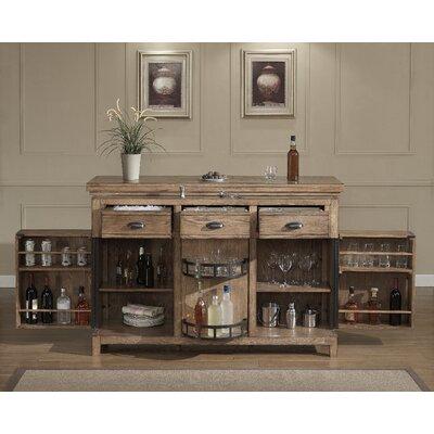 Evolution Bar Cabinet with Wine Storage Color: Weathered Oak
