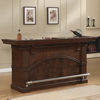 Carmella Bar with Wine Storage Color: Brown / Charcoal Bronze Hardware