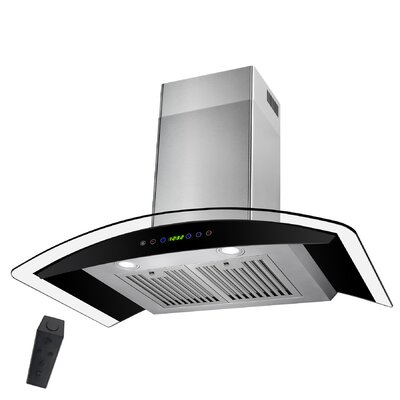 "30"" 343 CFM Convertible Wall Mount Range Hood Finish: Silver"