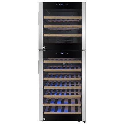73 Bottle Built-in Compressor Dual Zone Freestanding Wine Cooler
