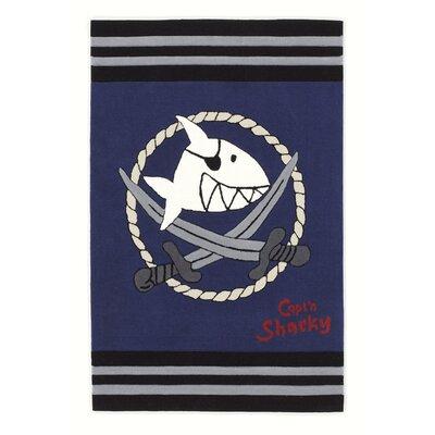 Boeing Carpet GmbH Capt'n Sharky Hand-Woven Blue Area Rug