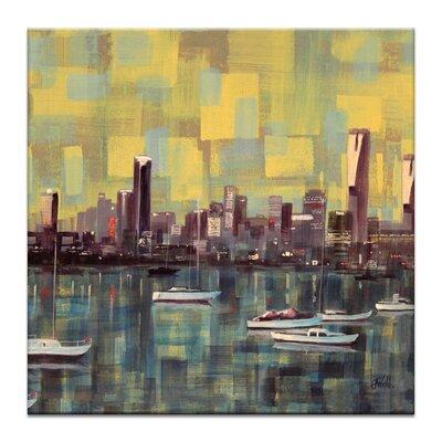 Artist Lane Boats on the Bay by Jennifer Webb Art Print Wrapped on Canvas