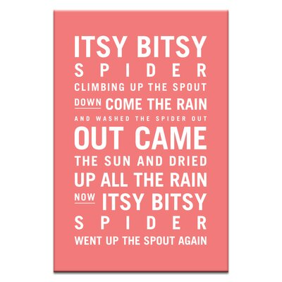 Artist Lane Itsy Bitsy Spider by Nursery Canvas Art in Red