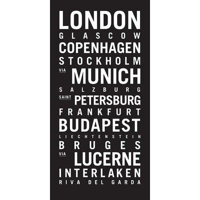 Artist Lane 'Europe 2' by Tram Scrolls Typography Wrapped on Canvas