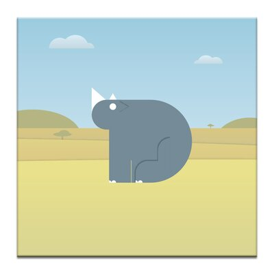 Artist Lane Ross the Rhino by Alex Turnbull Graphic Art Wrapped on Canvas in Blue/Yellow