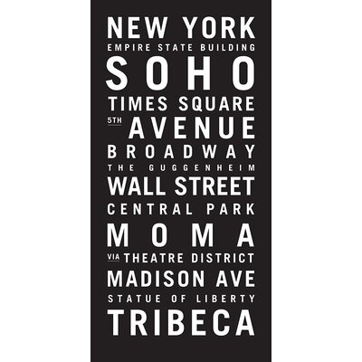 Artist Lane 'New York' by Tram Scrolls Typography Wrapped on Canvas