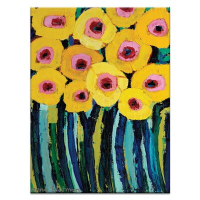 Artist Lane Yellow Blooms by Anna Blatman Art Print Wrapped on Canvas