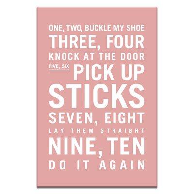 Artist Lane One, Two, Buckle My Shoe by Nursery Canvas Art in Pink