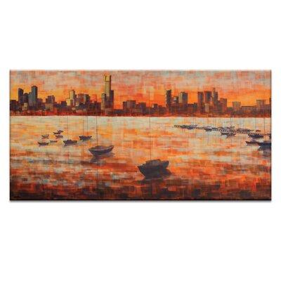 Artist Lane CBD Sunset from Williamstown by Jennifer Webb Art Print Wrapped on Canvas