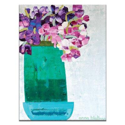 Artist Lane Green Pot With Irises by Anna Blatman Art Print Wrapped on Canvas
