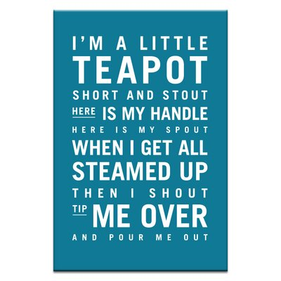 Artist Lane I'm a Little Teapot by Nursery Canvas Art in Teal